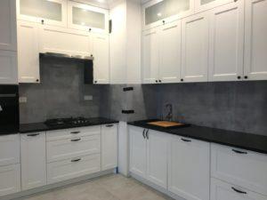beton w kuchni druk na szkle, grafika na szkle