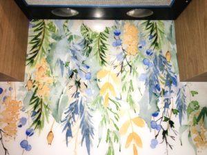 grafiki na szkle, druk na szkle malowane kwiaty